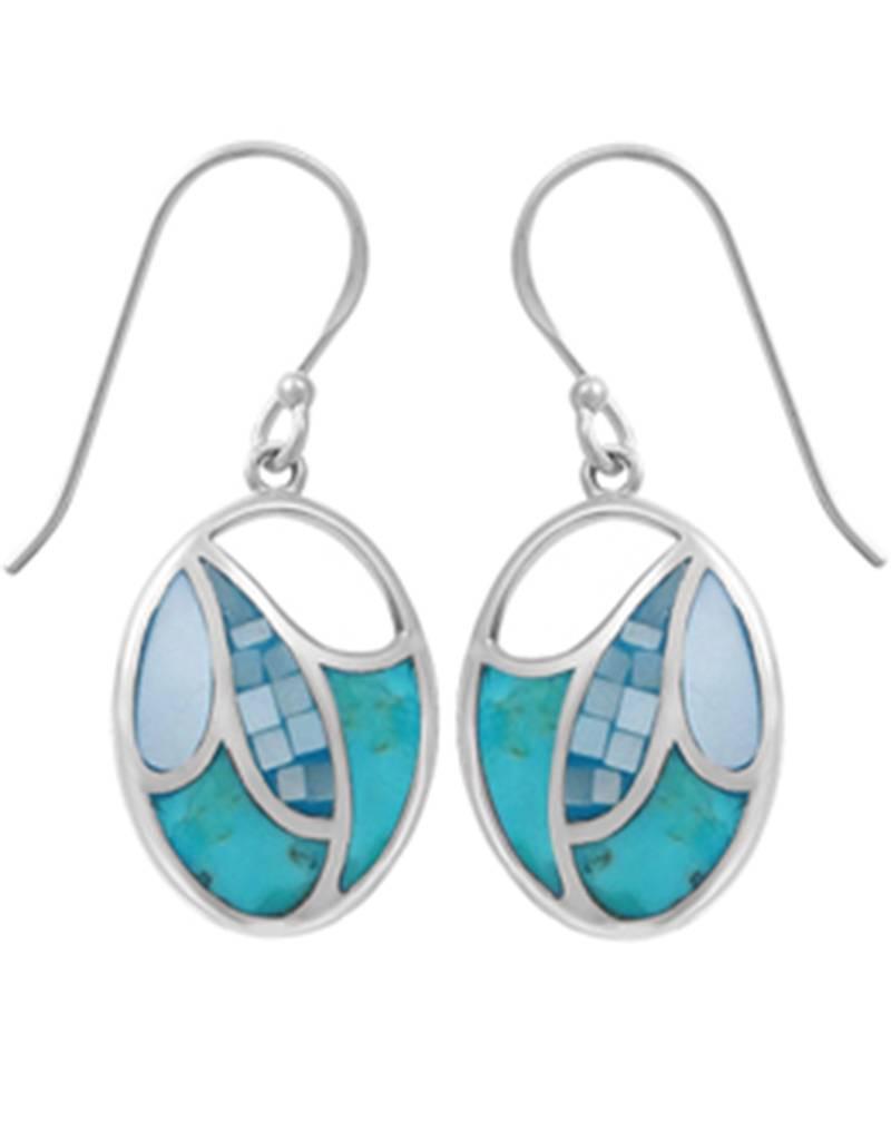 Turquoise MOP Earrings 18mm