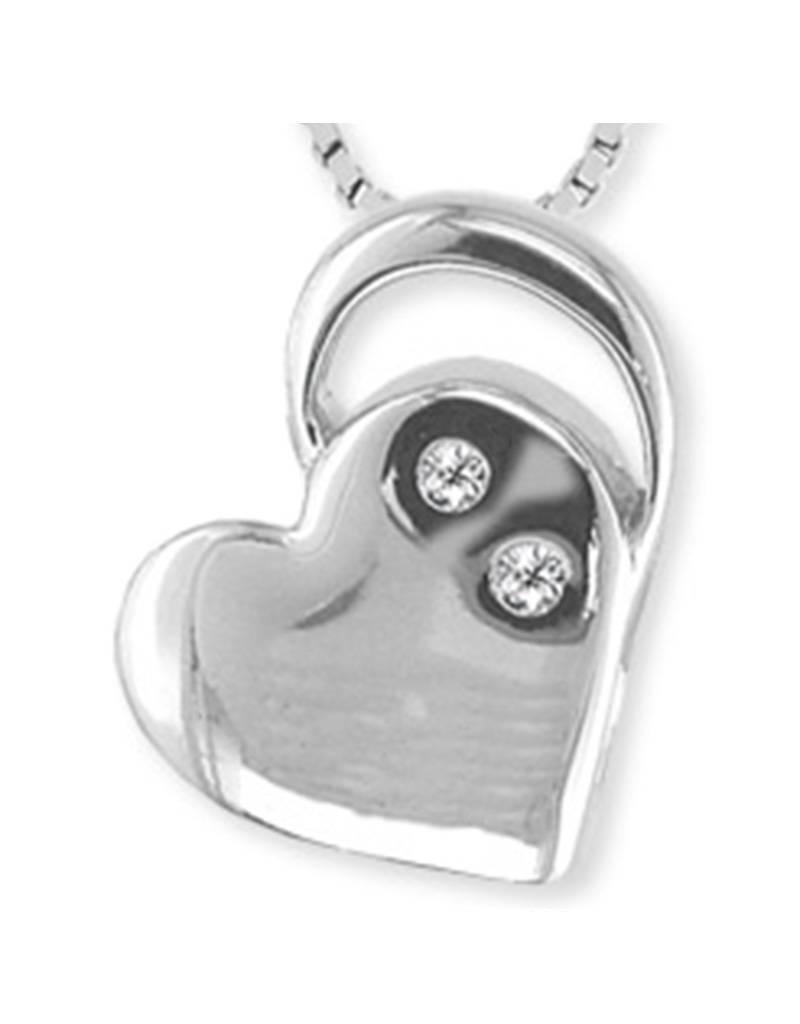 Sterling Silver Heart Diamond Necklace 18""