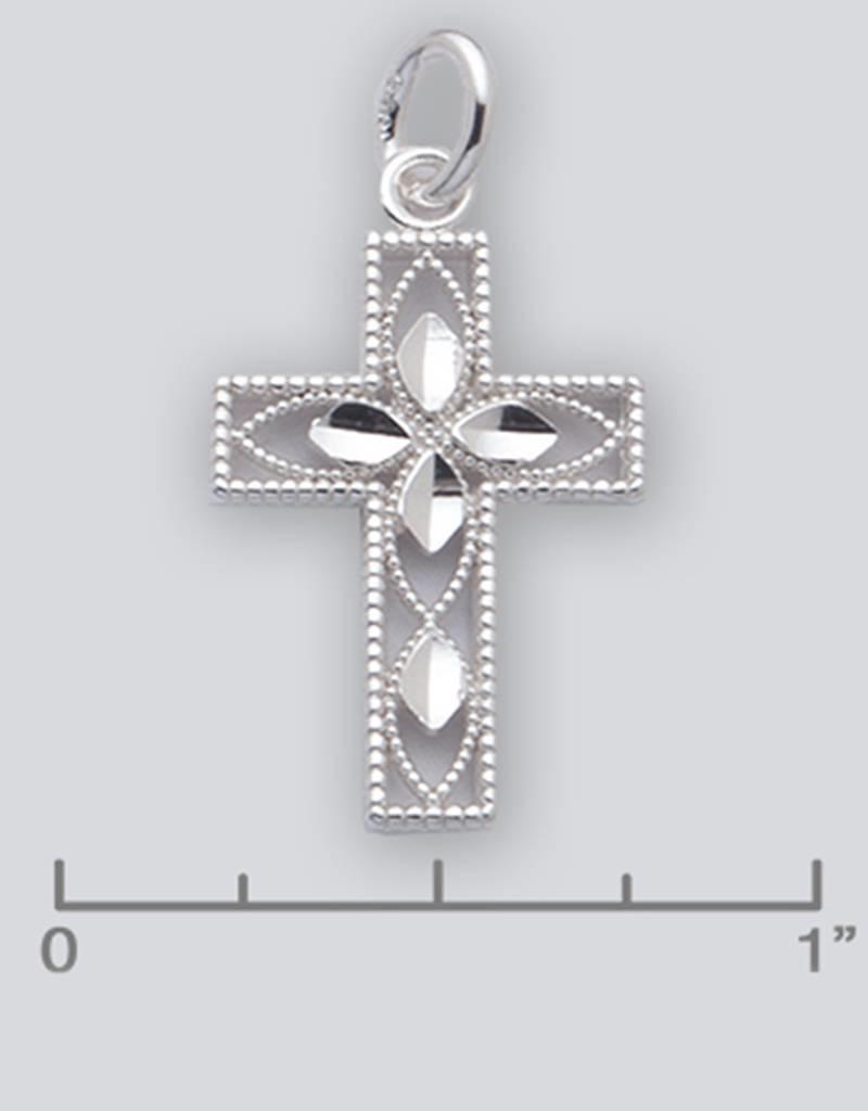 Sterling Silver Diamond Cut Cross Pendant 21mm