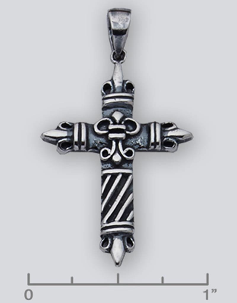 Sterling Silver Cross Pendant Oxidized 36mm