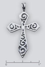 Sterling Silver Scroll Cross Pendant Oxidized 44mm