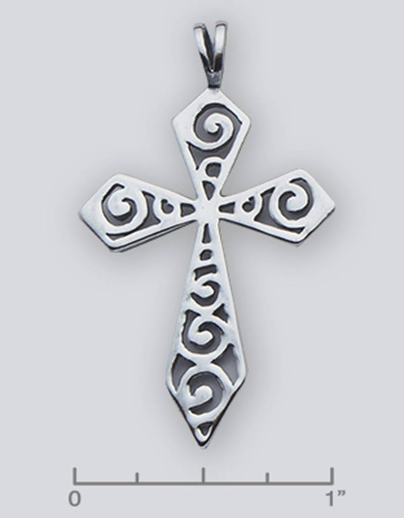 Cross Scroll Pendant Oxidized 44mm