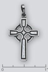 Sterling Silver Celtic Cross Pendant Oxidized 27mm