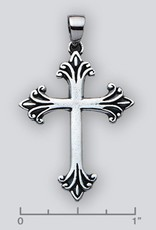 Sterling Silver Cross Pendant Oxidized 35mm