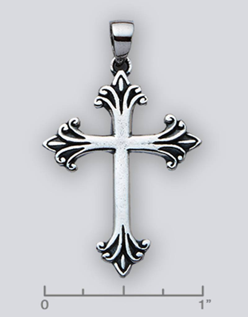 Cross Pendant Oxidized 35mm