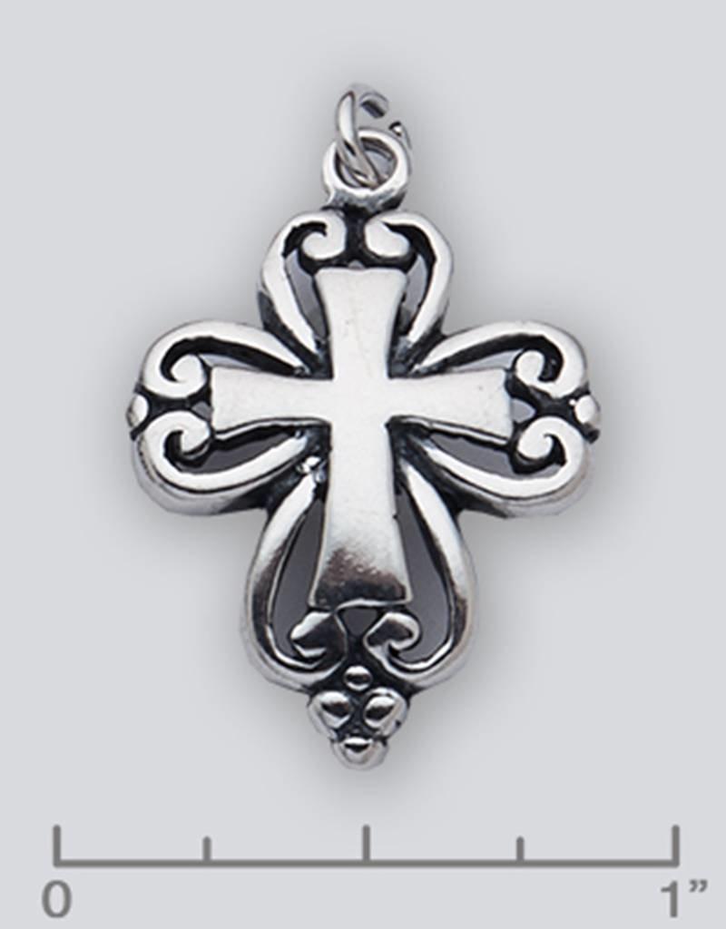Sterling Silver Cross Pendant Oxidized 26mm