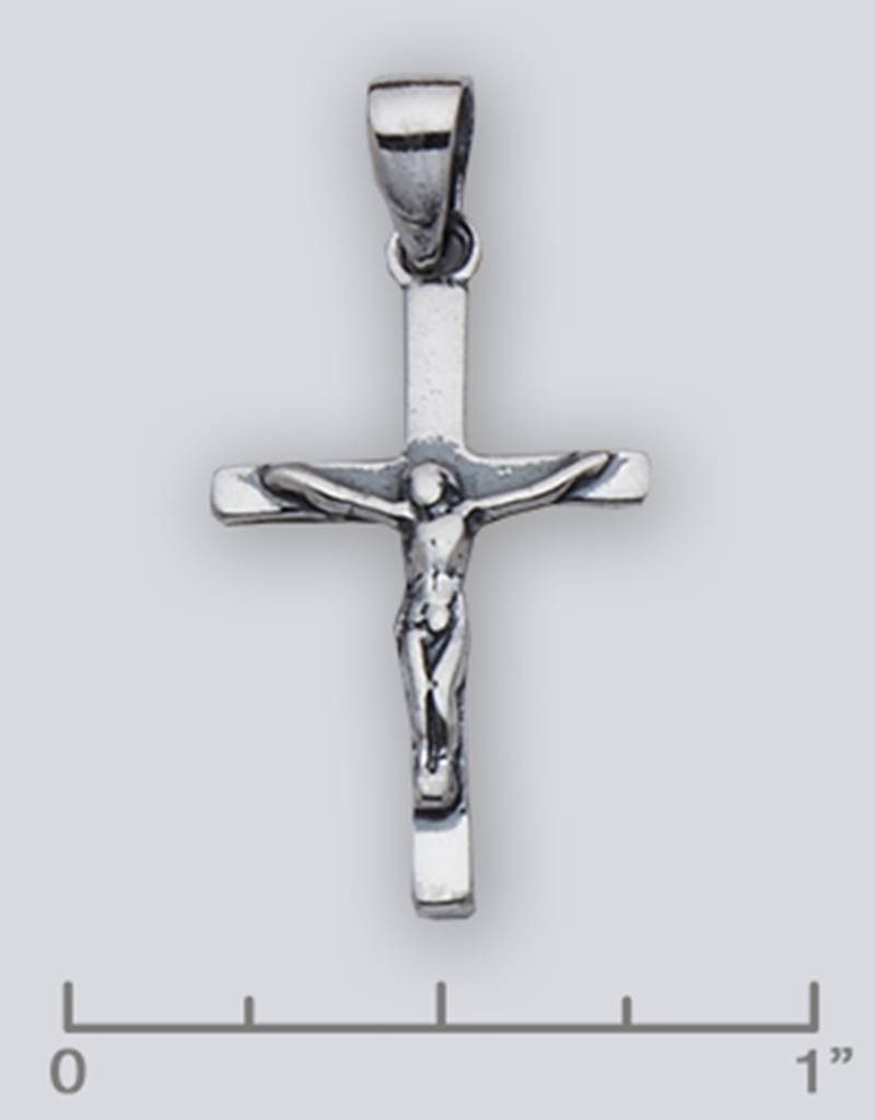 Crucifix Pendant Oxidized 26mm