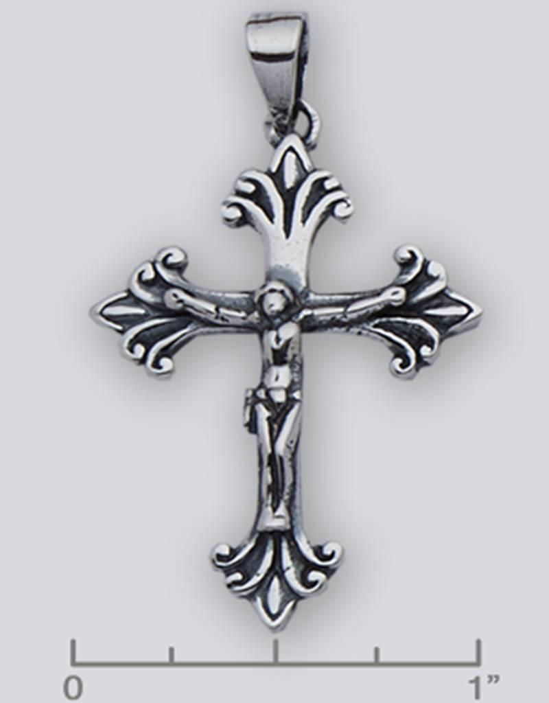 Sterling Silver Crucifix Pendant Oxidized 35mm