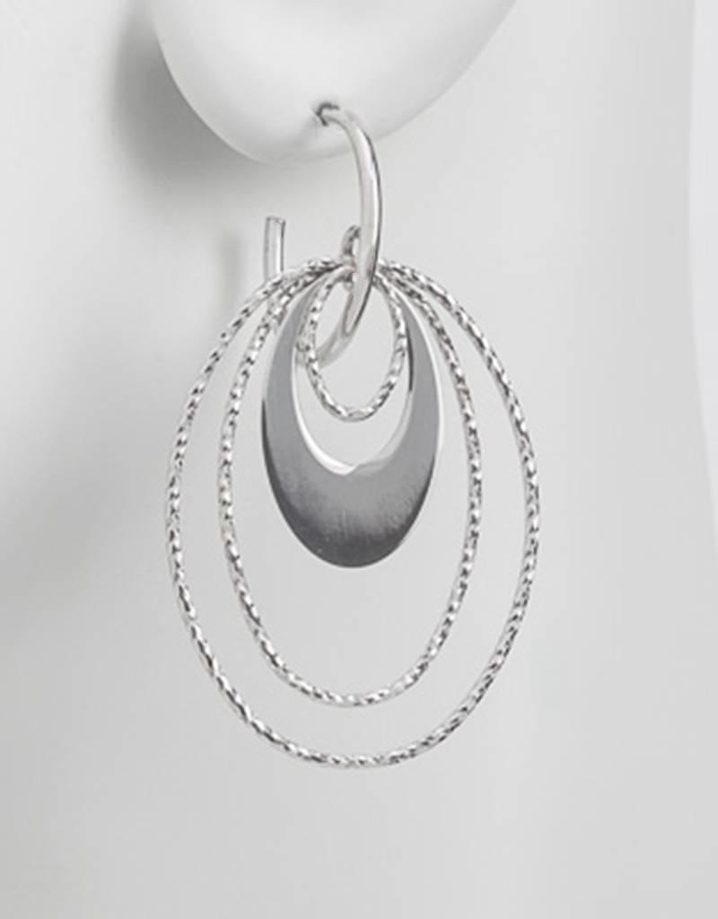 Sterling Silver Oval Loop Earrings 47mm