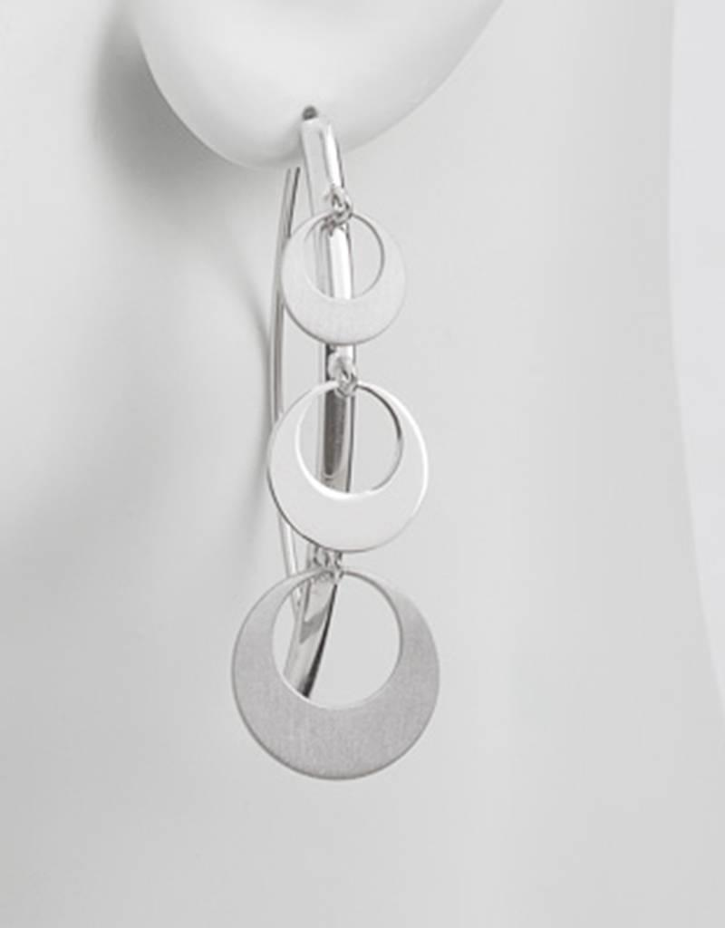 Sterling Silver Circle Dangles Wire Threader Earrings