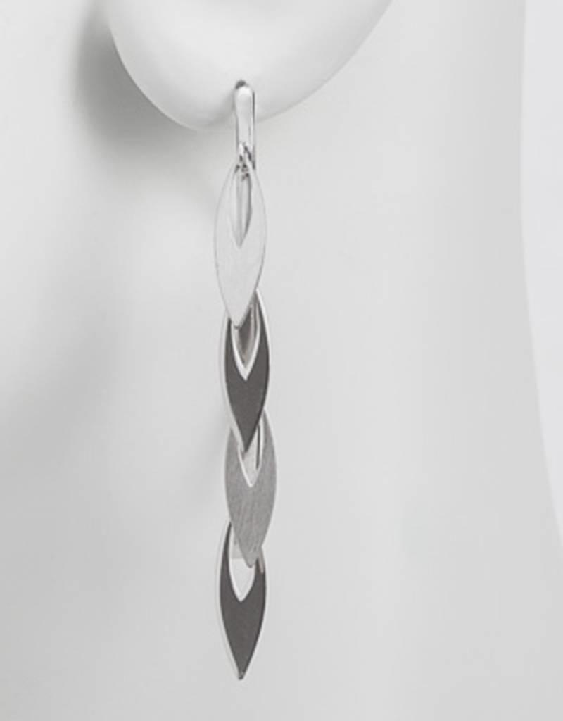 Sterling Silver Leaf Dangles Wire Threader Earrings