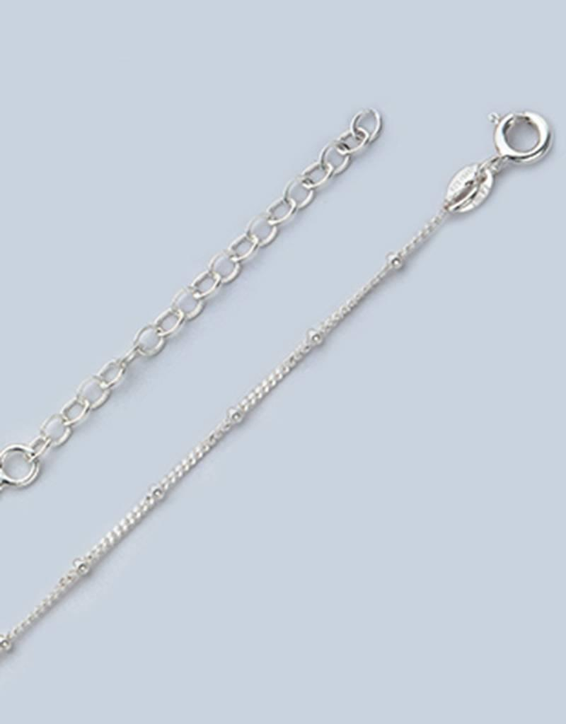 Sterling Silver Curb 035 w/ Rings Anklet 9""
