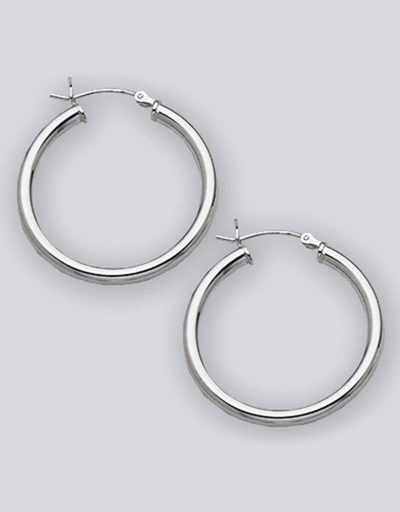 Sterling Silver Round Hoop Earrings 30mm