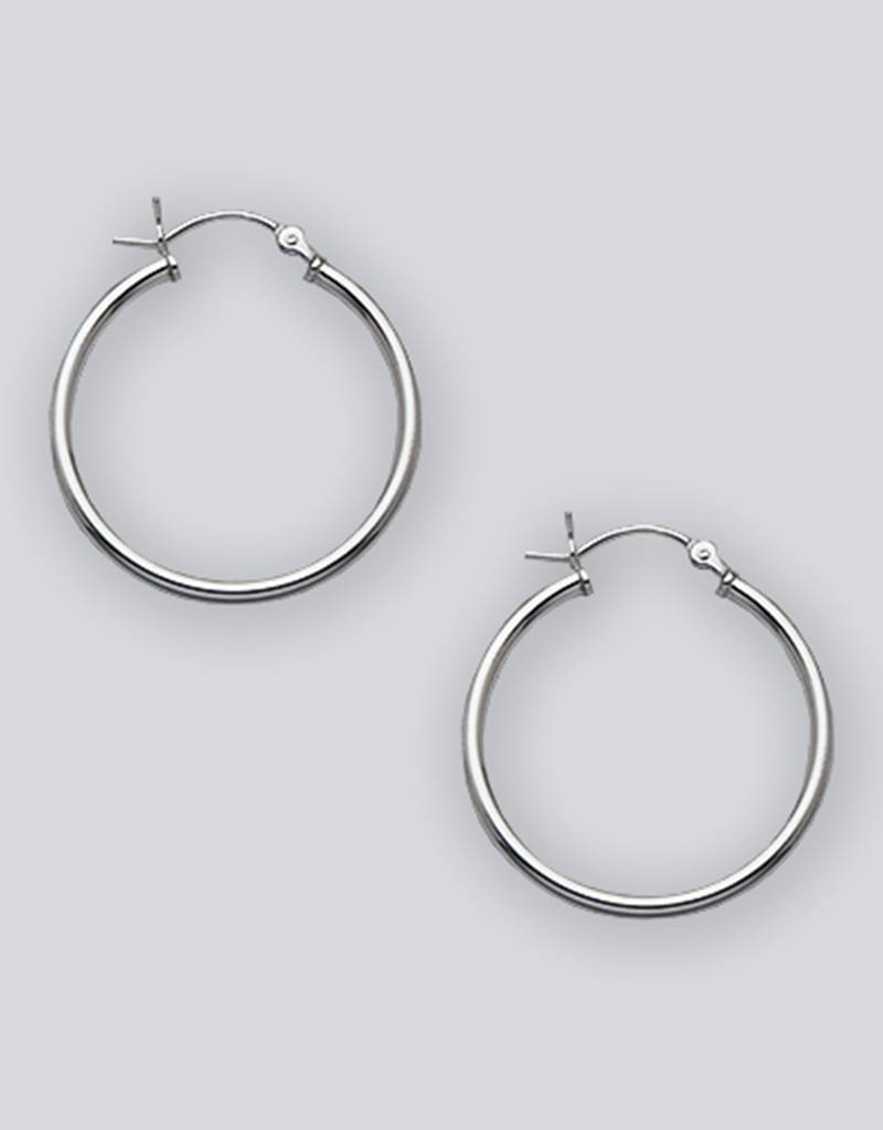 28mm Round Plain Hoop Earrings