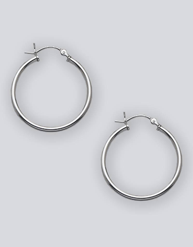 28mm Round Plain Hoop Earrings
