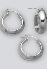 Sterling Silver Half Round Hoop Earrings 22mm