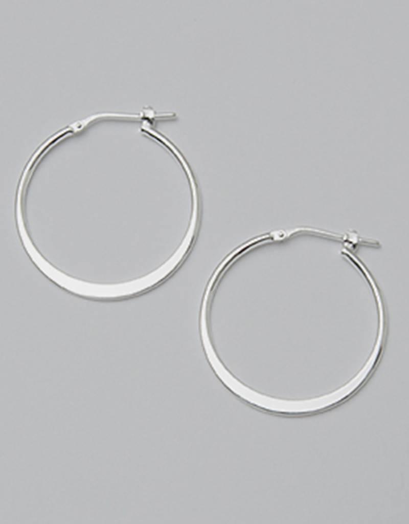 Sterling Silver 25mm Graduated Flat Hoop Earrings