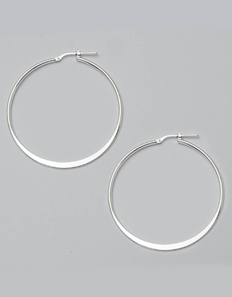 Sterling Silver 40mm Graduated Flat Hoop Earrings