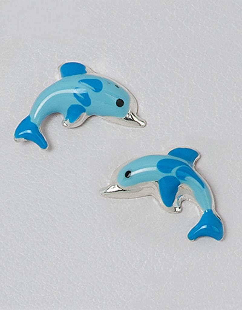 Sterling Silver Dolphin Blue Enamel Post Earrings 11mm