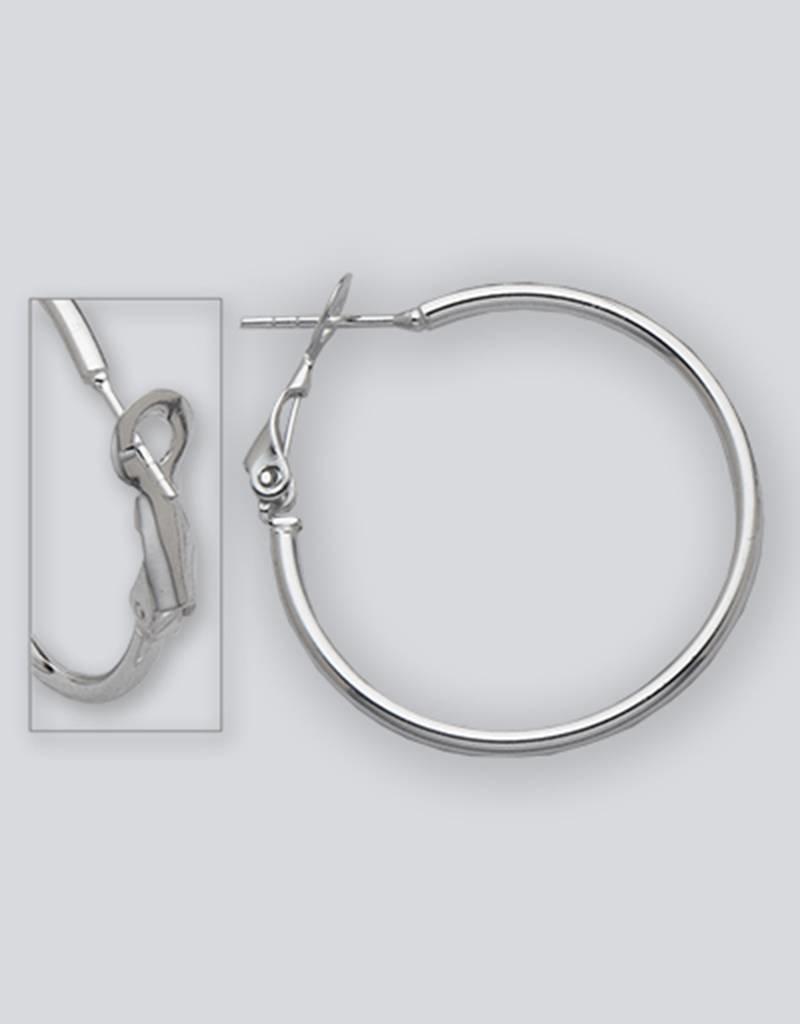 Sterling Silver 30mm Omega Clip Hoop Earrings