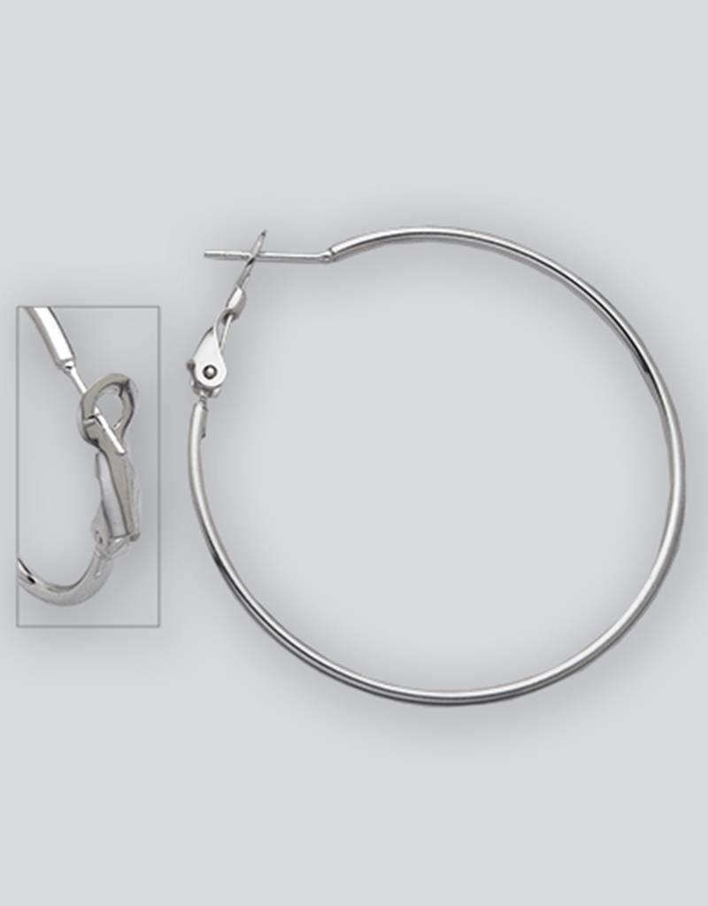 Sterling Silver 40mm Omega Clip Back Hoop Earrings