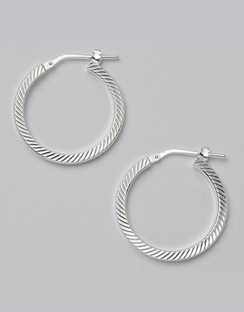 Sterling Silver 23mm Diamond Cut Square Tube Hoop Earrings
