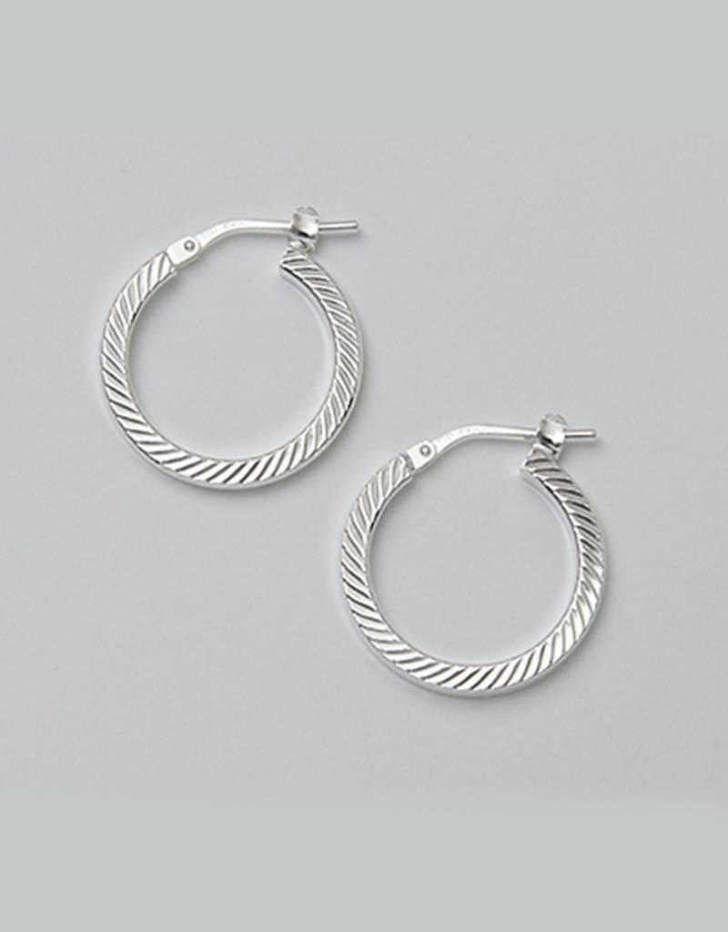 Sterling Silver 19mm Diamond Cut Square Tube Hoop Earrings