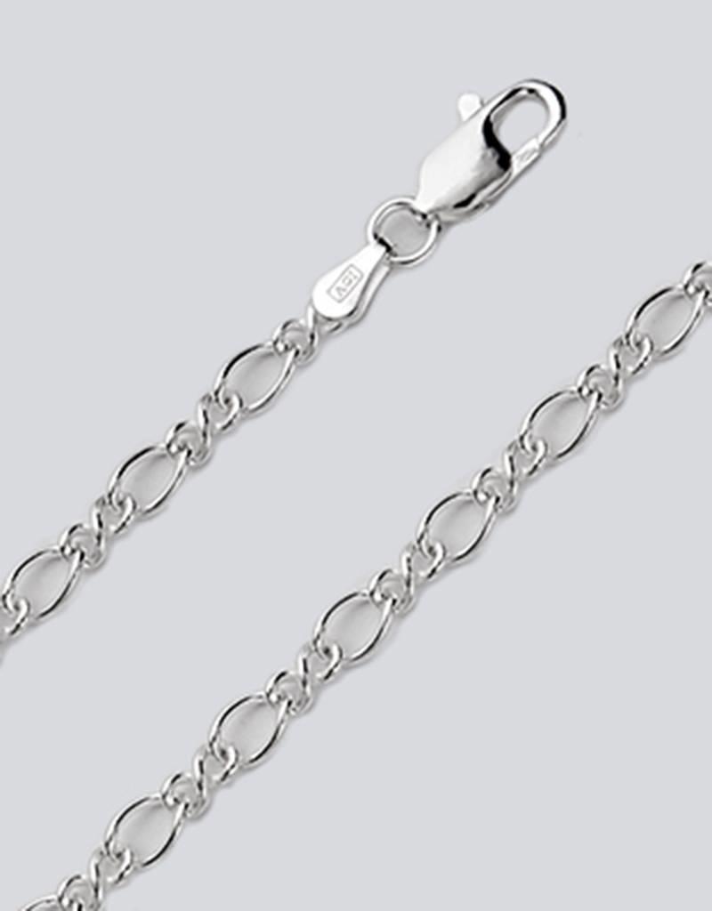 "Sterling Silver Figure Eight 080 Chain Bracelet 7"""