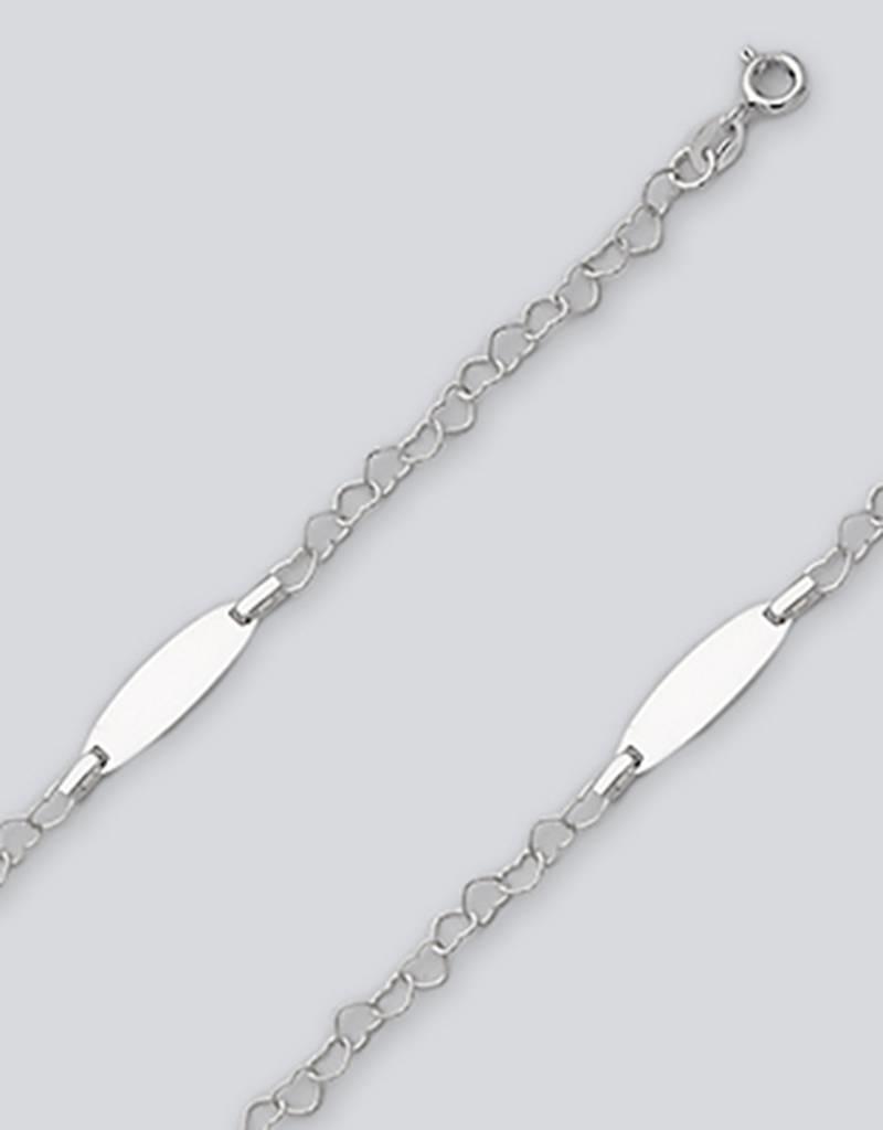 """Sterling Silver Heart Rolo Chain ID Bracelet 5.5"""""""