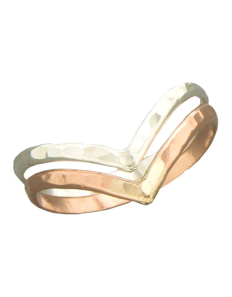 V Hammered SS/R-GF Ring
