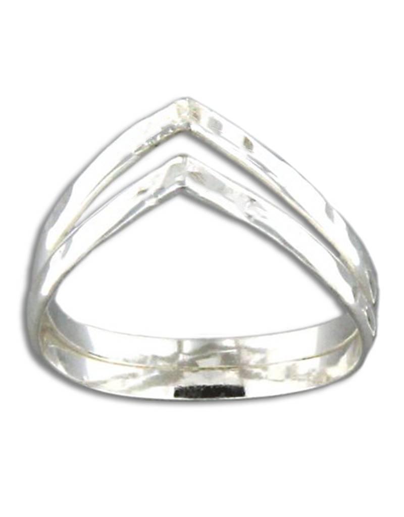MRK Double V Hammered Ring