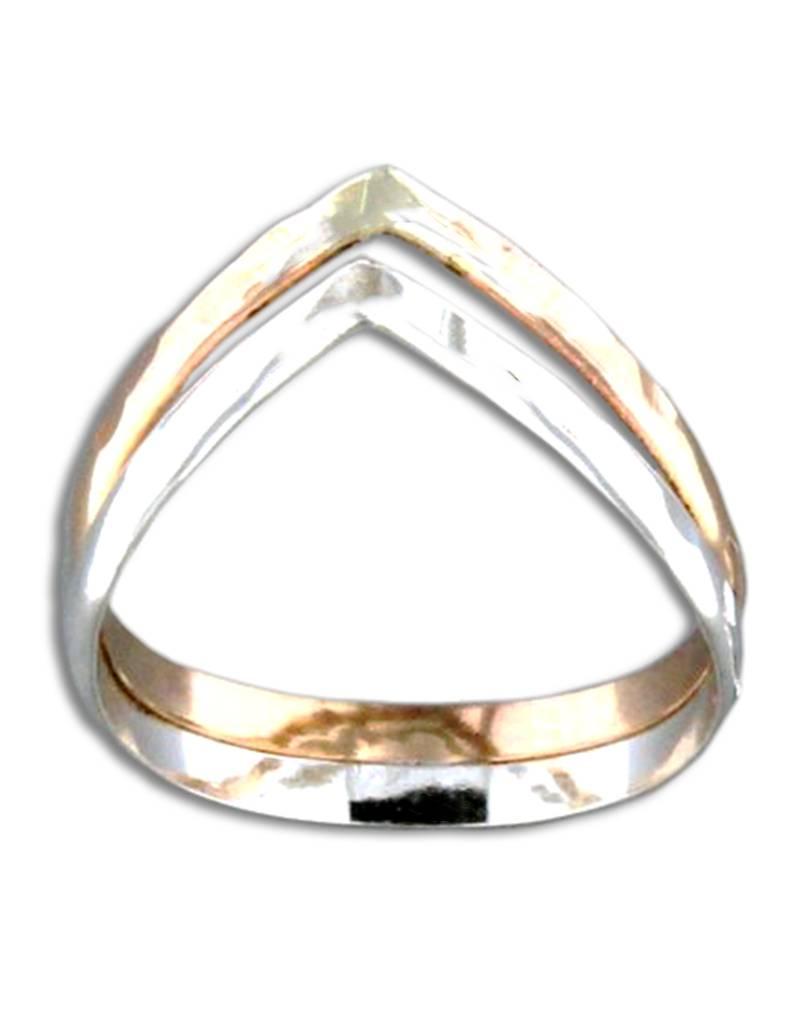 V Hammered SS/GF Ring