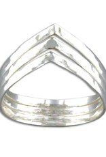 Sterling Silver 3 Band V-Shaped Hammered Ring