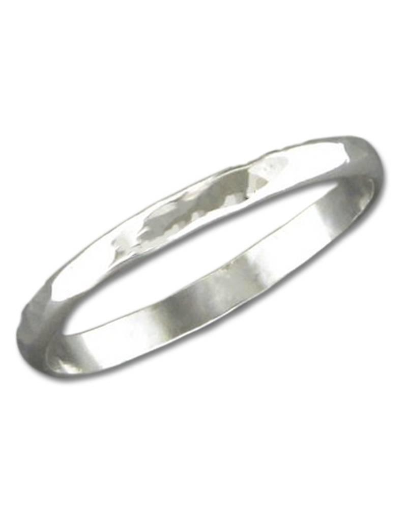 Sterling Silver 2mm Hammered Wedding Band Ring