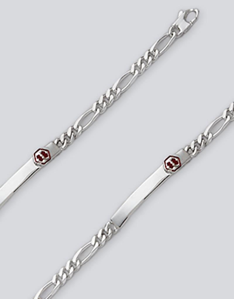 "Sterling Silver Figaro 150 Chain Medical Alert ID Bracelet 7"""