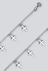 """Sterling Silver Cross Dangle Bracelet 7"""""""