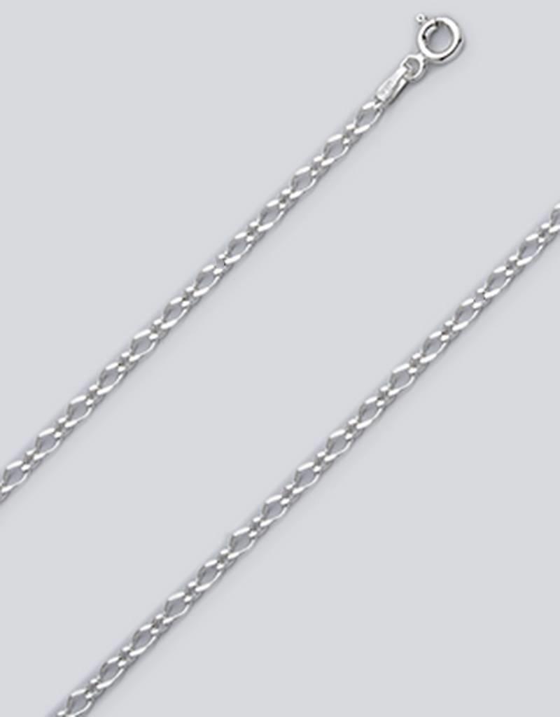"Sterling Silver Rombo Figaro Chain 060 Chain Anklet 9""+1"" Extender"