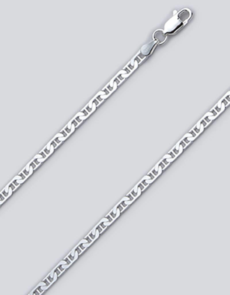 "Sterling Silver Flat Marina 080 Anklet 9"""