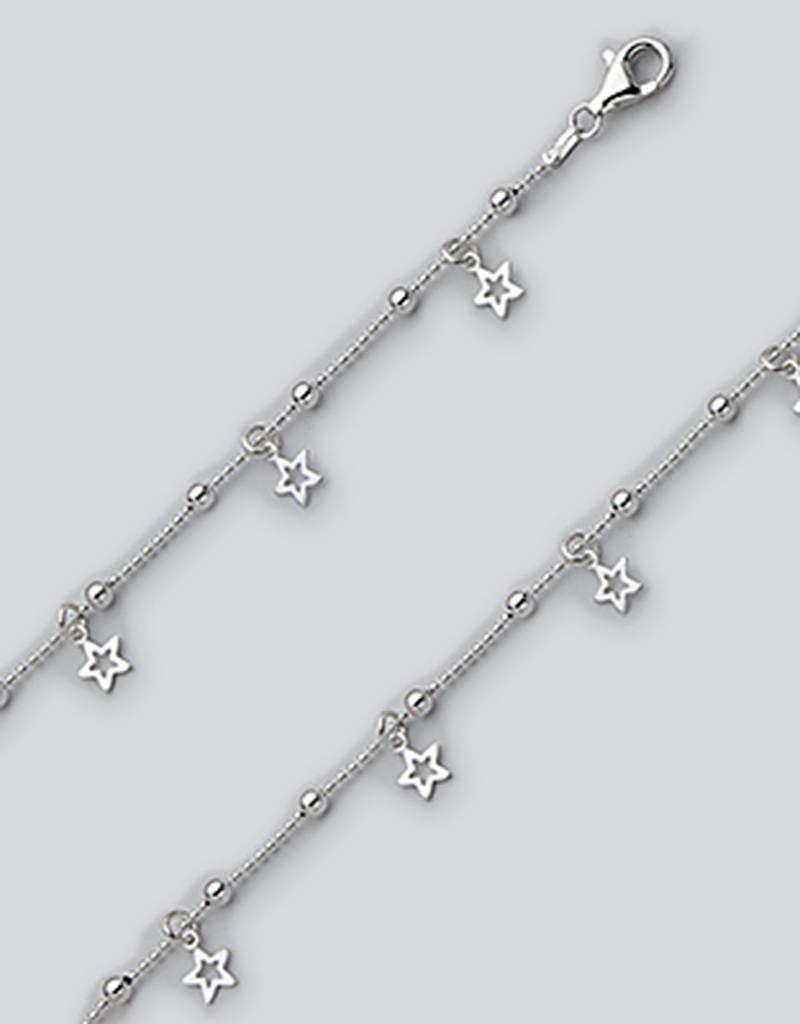 """Sterling Silver Star Dangle Anklet 9"""""""