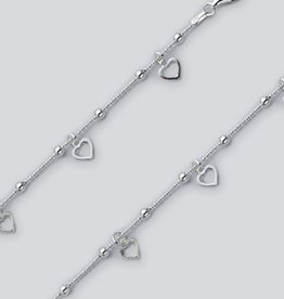 """Dangle Hearts Bead Chain Anklet 9""""+1"""""""