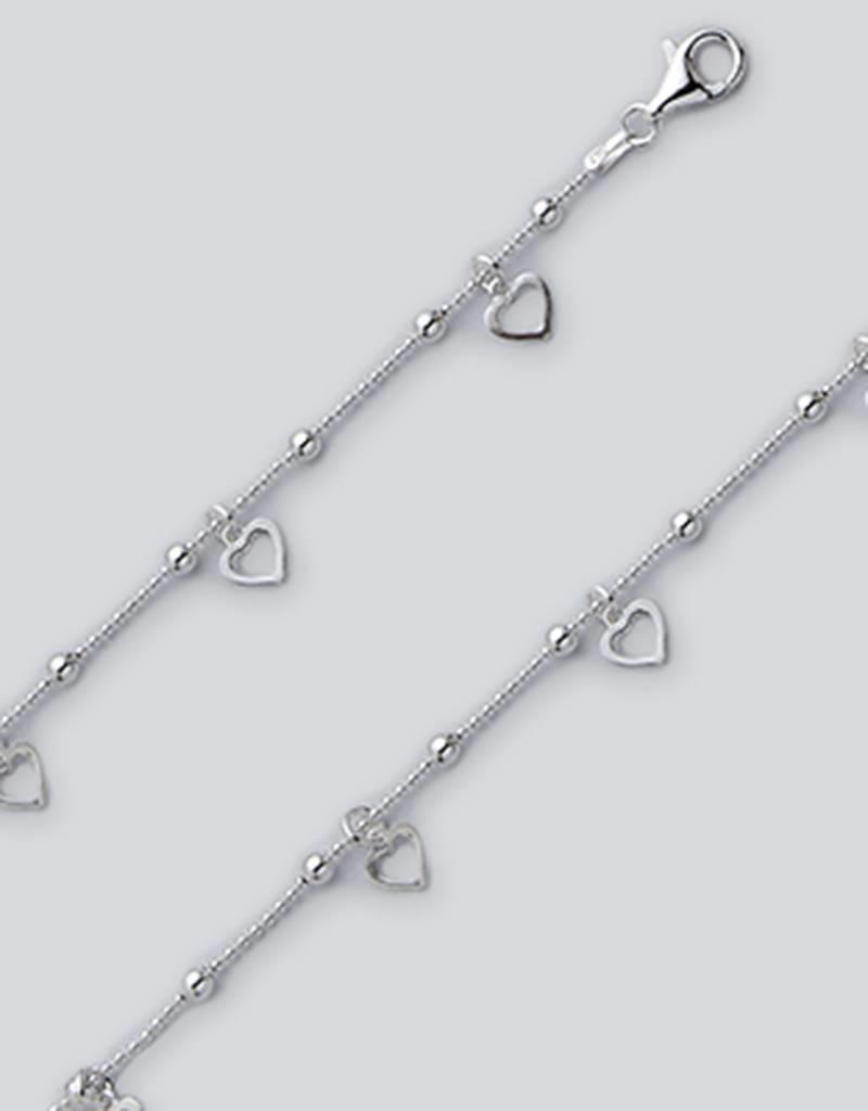 "Sterling Silver Dangle Hearts Bead Chain Anklet 9""+1"" Extender"