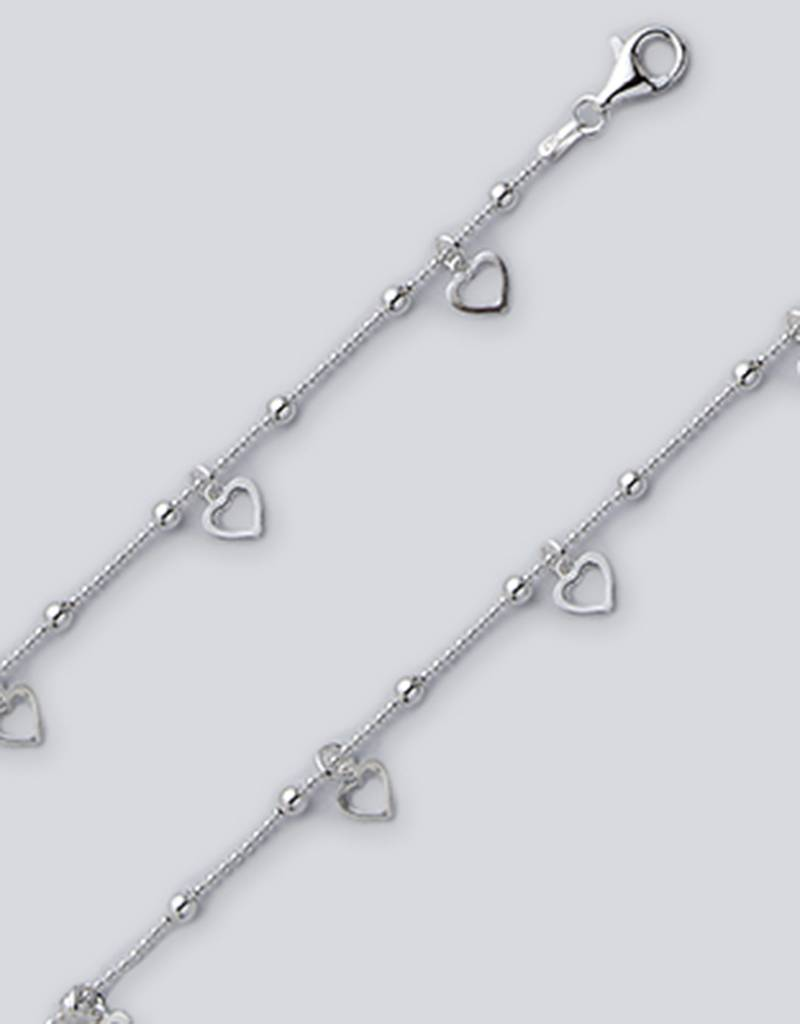 "Dangle Hearts Bead Chain Anklet 9""+1"""
