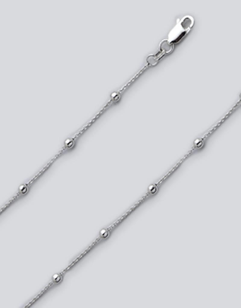 Sterling Silver Curb with Beads Anklet 9""