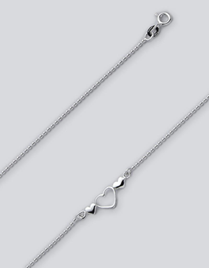 """Sterling Silver Bead w/ Hearts Anklet 9"""""""