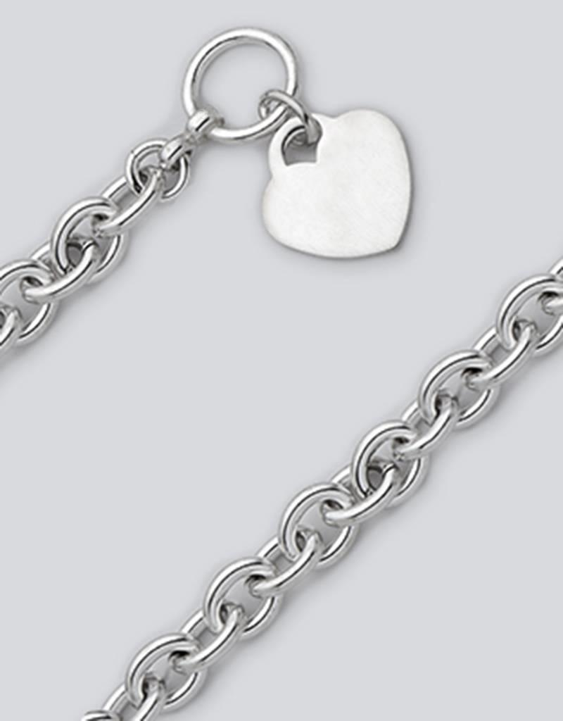 Sterling Silver Oval Link 180 Heart Tag Necklace with Toggle Clasp