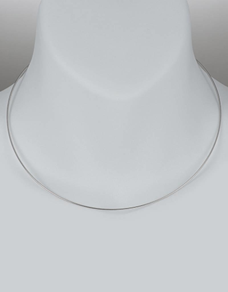 Sterling Silver Round Omega 100 Necklace with Rhodium Finish