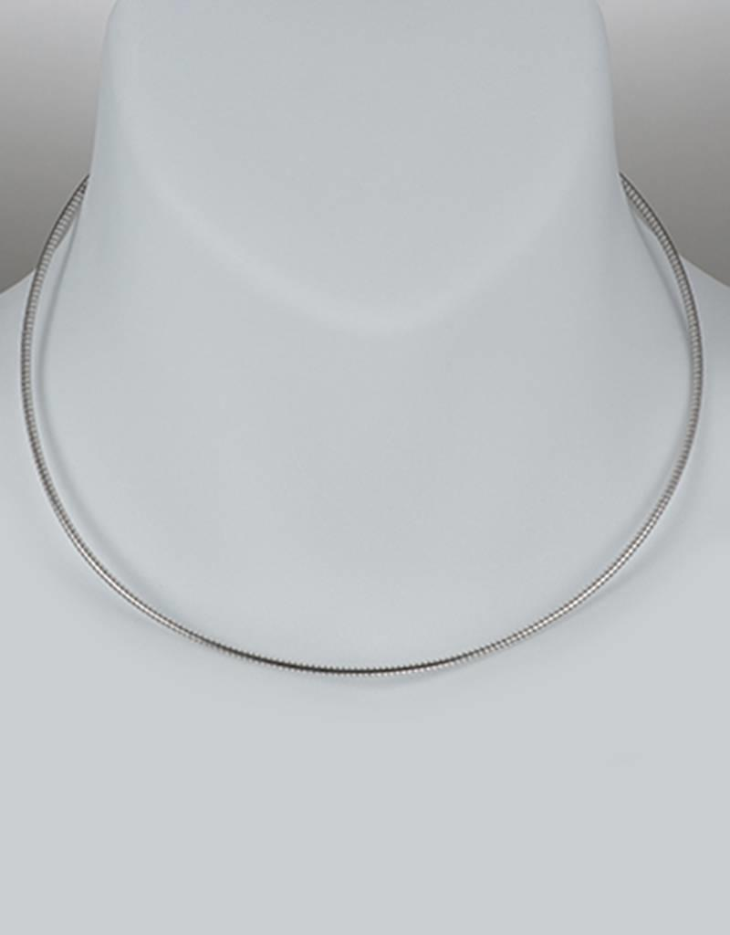 Sterling Silver Round Omega 185 Necklace with Rhodium Finish