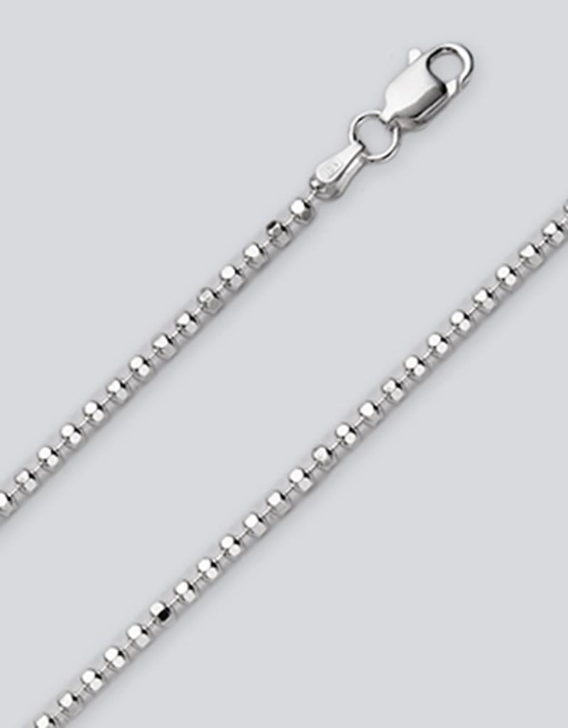 Sterling Silver 2.2mm Diamond Cut Bead Anklet 9""