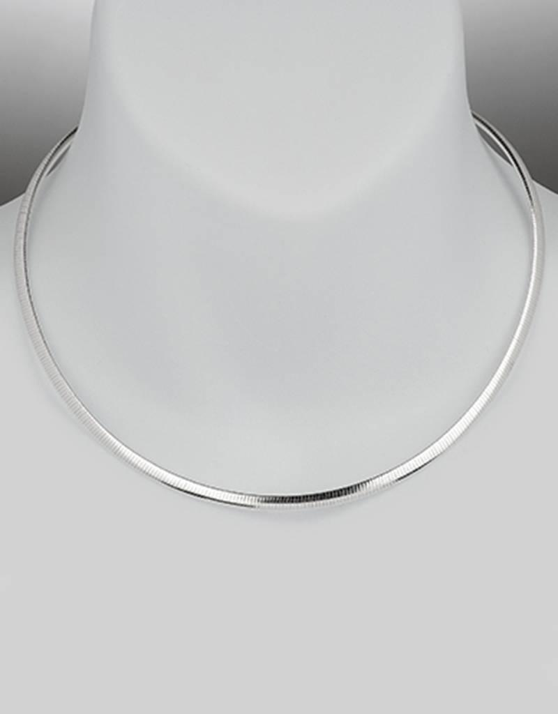 Sterling Silver 4mm Reversible Omega Necklace