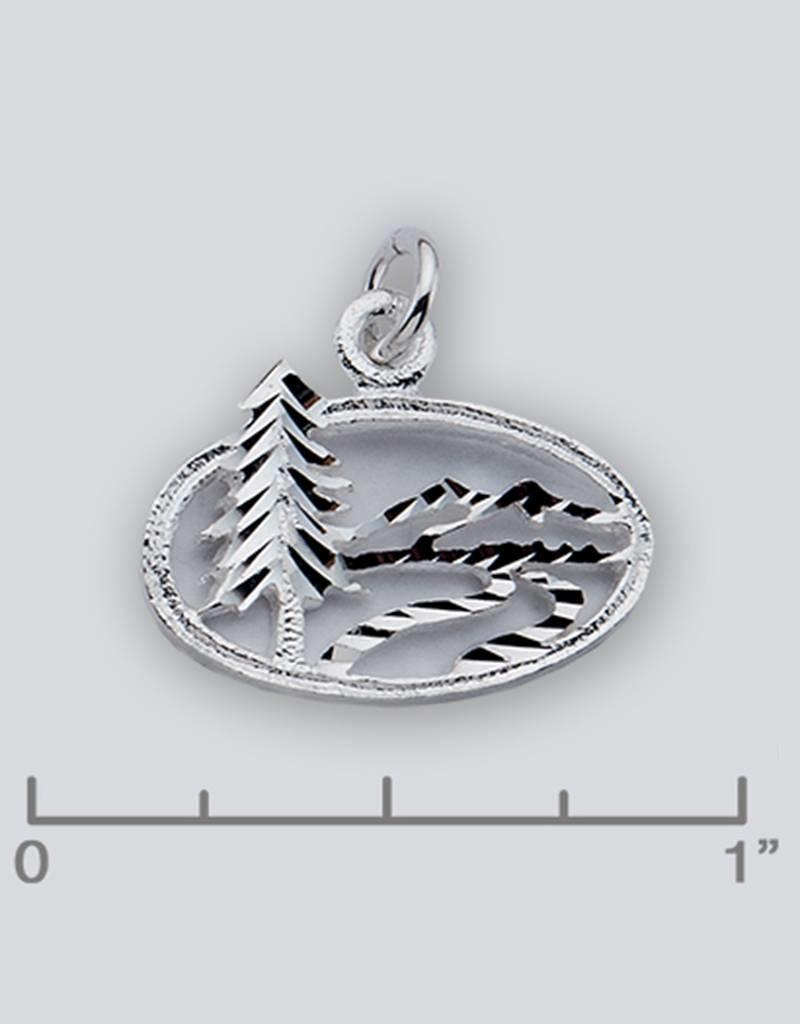 Sterling Silver Landscape Charm 19mm